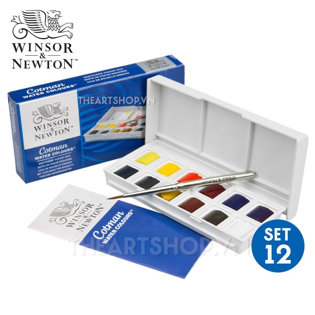 Bộ màu nước WINSOR 12 màu - WINSOR & NEWTON COTMAN Watercolor Sketchers' Pocket Box Set (12 Half Pans)