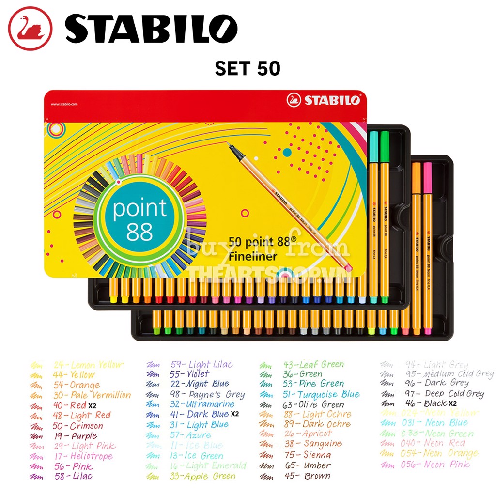 Bộ bút line STABILO (Hộp thiếc) - STABILO Point 88 Fineliner Marker Pen Set 50 colors (Metal box)