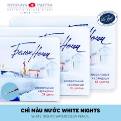 Bộ màu chì nước WHITE NIGHTS 24/36/48 màu (Hộp thiếc) - NEVSKAYA PALITRA WHITE NIGHTS Set 24/36/48 Watercolor Pencils (Metal box)