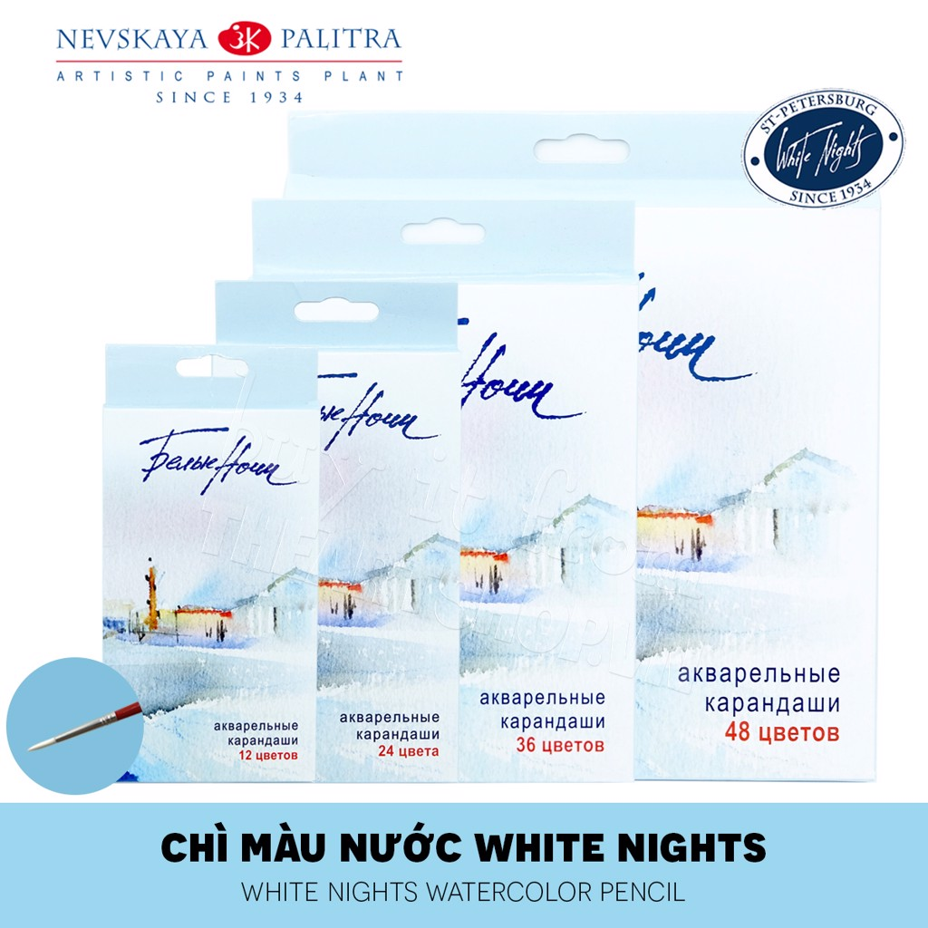 Bộ màu chì nước WHITE NIGHTS 12/24/36/48 màu (Hộp giấy) - NEVSKAYA PALITRA WHITE NIGHTS Set 12/24/36/48 Watercolor Pencils (Paper box)