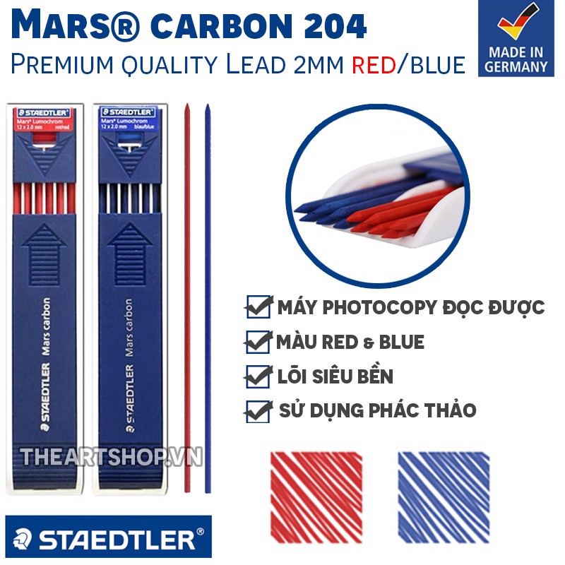 Ruột chì 2mm STAEDTLER - STAEDTLER Mars® Carbon Pencil Lead 204 Blue|Red