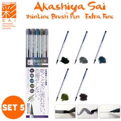 Akashiya Sai ThinLine Watercolor Brush Pen - Set 5 Colors