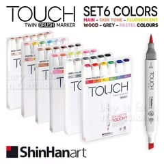 Bút marker TOUCH TWIN BRUSH MARKER set 6 - Shinhan art