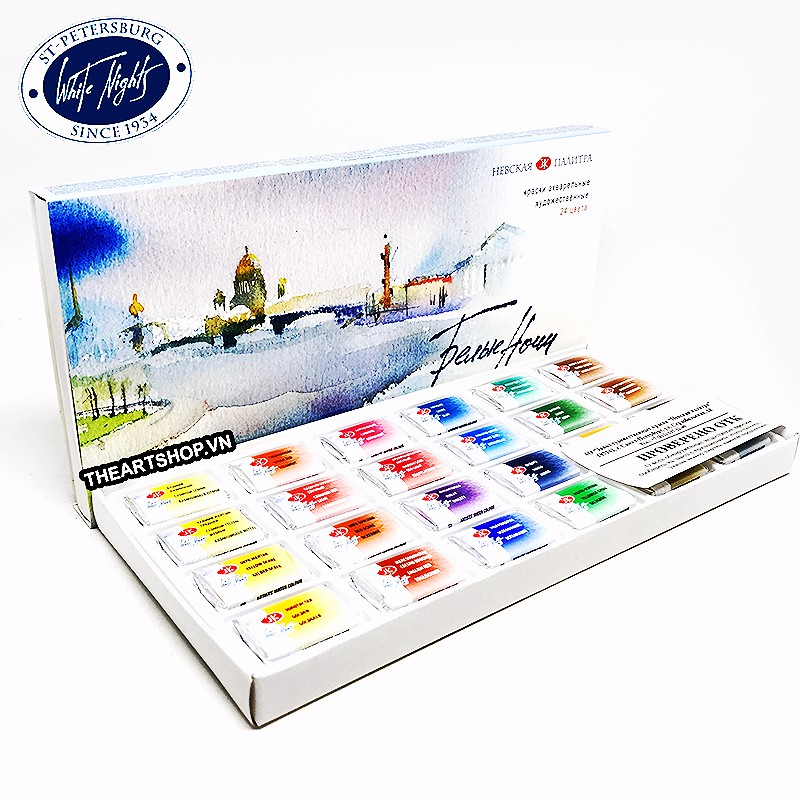 Bộ màu nước WHITE NIGHTS 24 màu (Hộp giấy) - WHITE NIGHTS Watercolor Set 24 colors (Paper box)