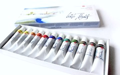 Bộ màu nước WHITE NIGHTS Dạng tuýp 12/24 màu (10ml) - NEVSKAYA PALITRA WHITE NIGHTS Watercolor Set 12/24 colors (Tube 10ml)