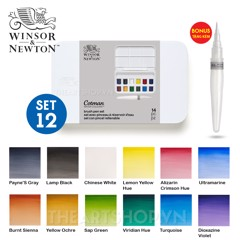 Bộ màu nước WINSOR 12 màu - WINSOR & NEWTON Cotman Watercolor Brush Pen Set 12