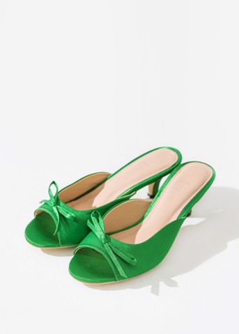 GREEN SATIN MULES