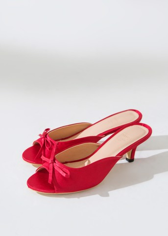 RED SATIN MULES
