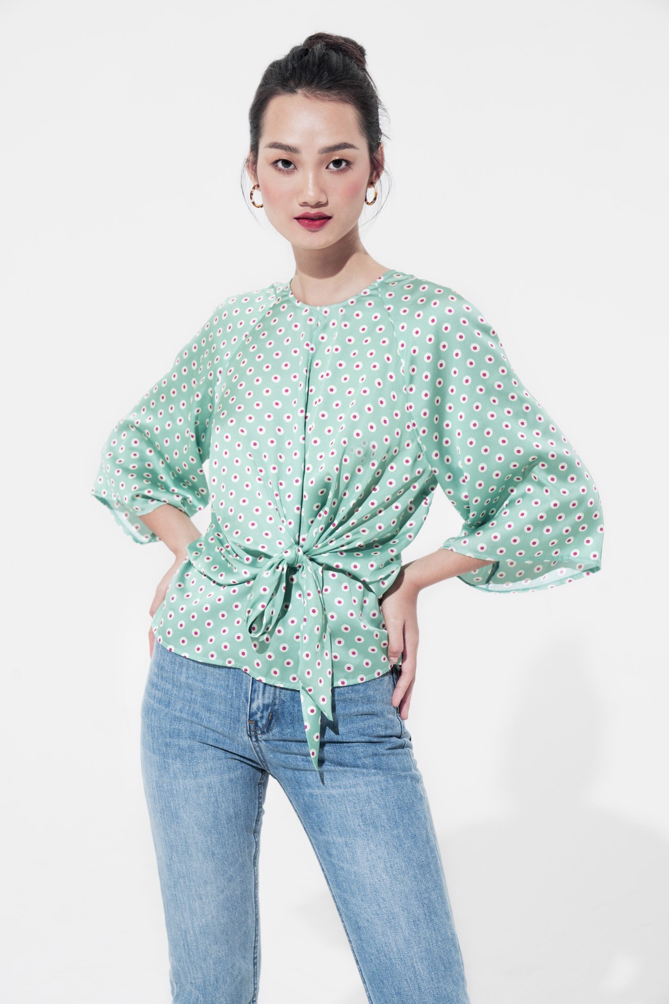 SEAFOAM CHERRY BLOUSE