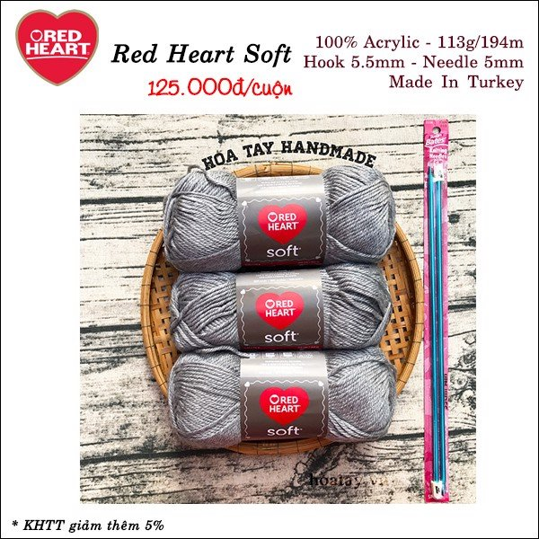 Len Red Heart Soft Light Grey Heather