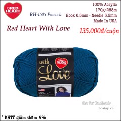 Len Red Heart With Love màu xanh Peacock