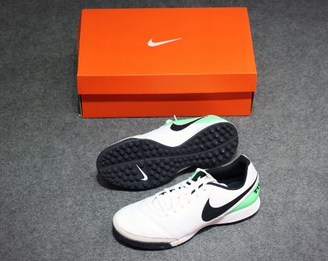 NIKE TIEMPO GENIO II LEATHER TF WHITE/BLACK/ELECTRIC GREEN