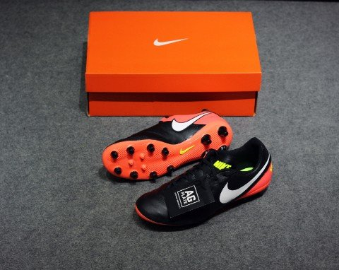 Nike Tiempo Genio II Leather AG Pro- Black/ White/ Hyper Orange/ Volt