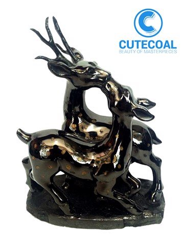 Hươu sao đôi- Statue of twin star deer charcoal- MN048