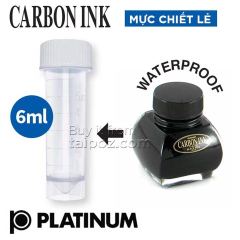 Mực chiết lẻ Platinum Carbon Waterproof, Black