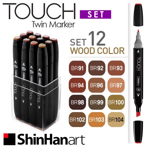 Bút marker ShinHan Touch Twin, set 12 màu Wood color