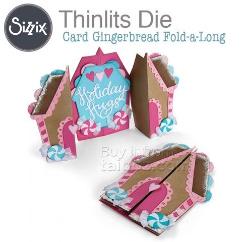 Khuôn bế Sizzix Thinlits Fold-a-long, Card Gingerbread
