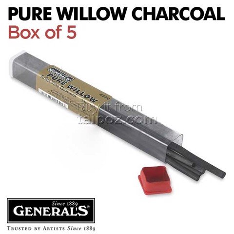 Chì than cây liễu General's Willow Charcoal, hộp 5 cây
