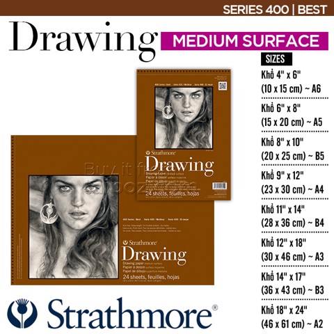 Sổ vẽ Strathmore Drawing, Series 400 - Medium surface