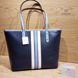 Túi COACH CITY ZIP VARSITY STRIPE TOTE MIDNIGHT BLUE
