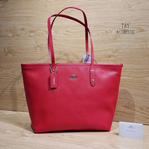 Túi COACH CROSSGRAIN LEATHER CITY ZIP TOTE BRIGHT RED