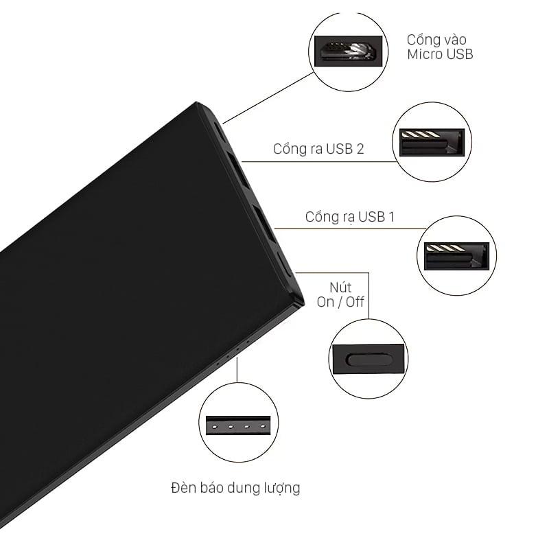 Pin sạc dự phòng Baseus M10 Gaven 10000 mAh 2 cổng USB 5V/2.4A Max