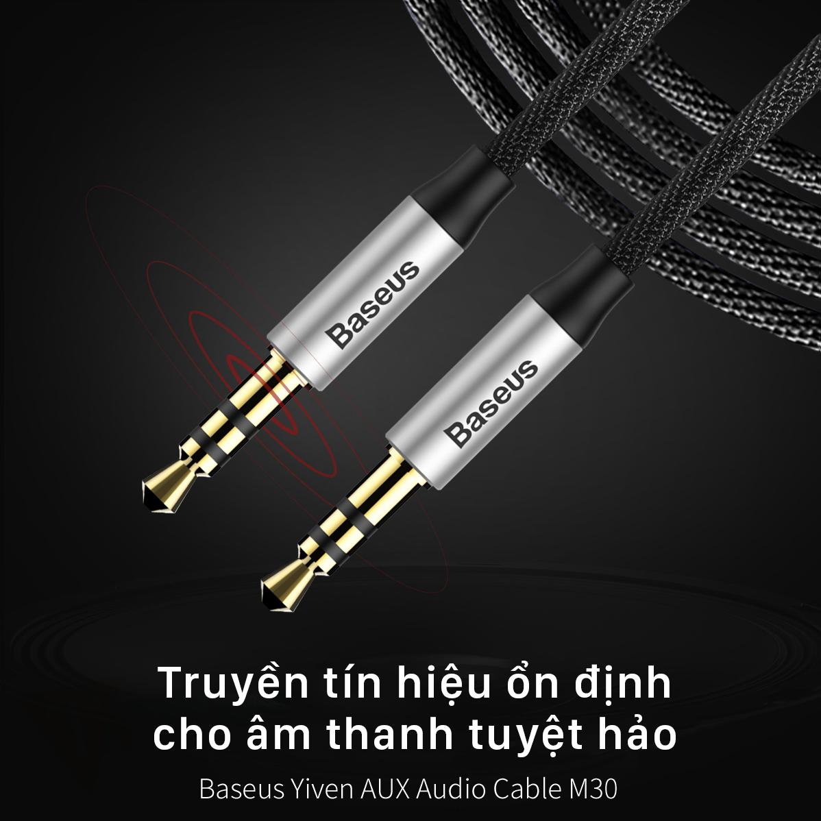 Cáp truyền âm thanh Baseus Yiven M30, dài 1m, bọc vải, chân cắm 3.5mm