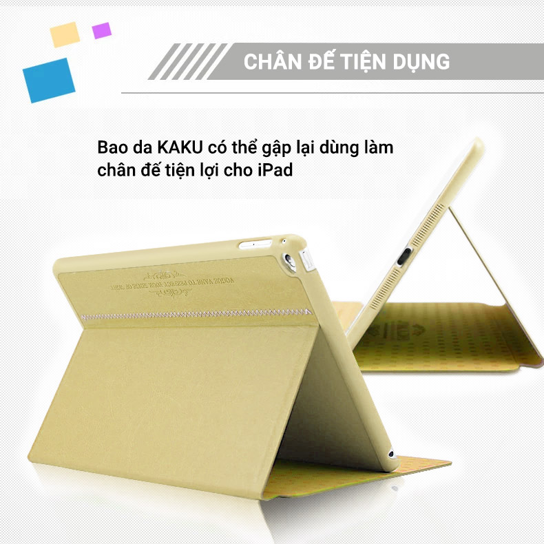 Bao da iPad mini 4 Kaku (da PU cao cấp, sang trọng, chống va đập)