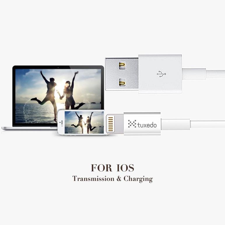 Cáp sạc điện thoại Tuxedo Lightning USB dài 1m (hỗ trợ sạc nhanh)