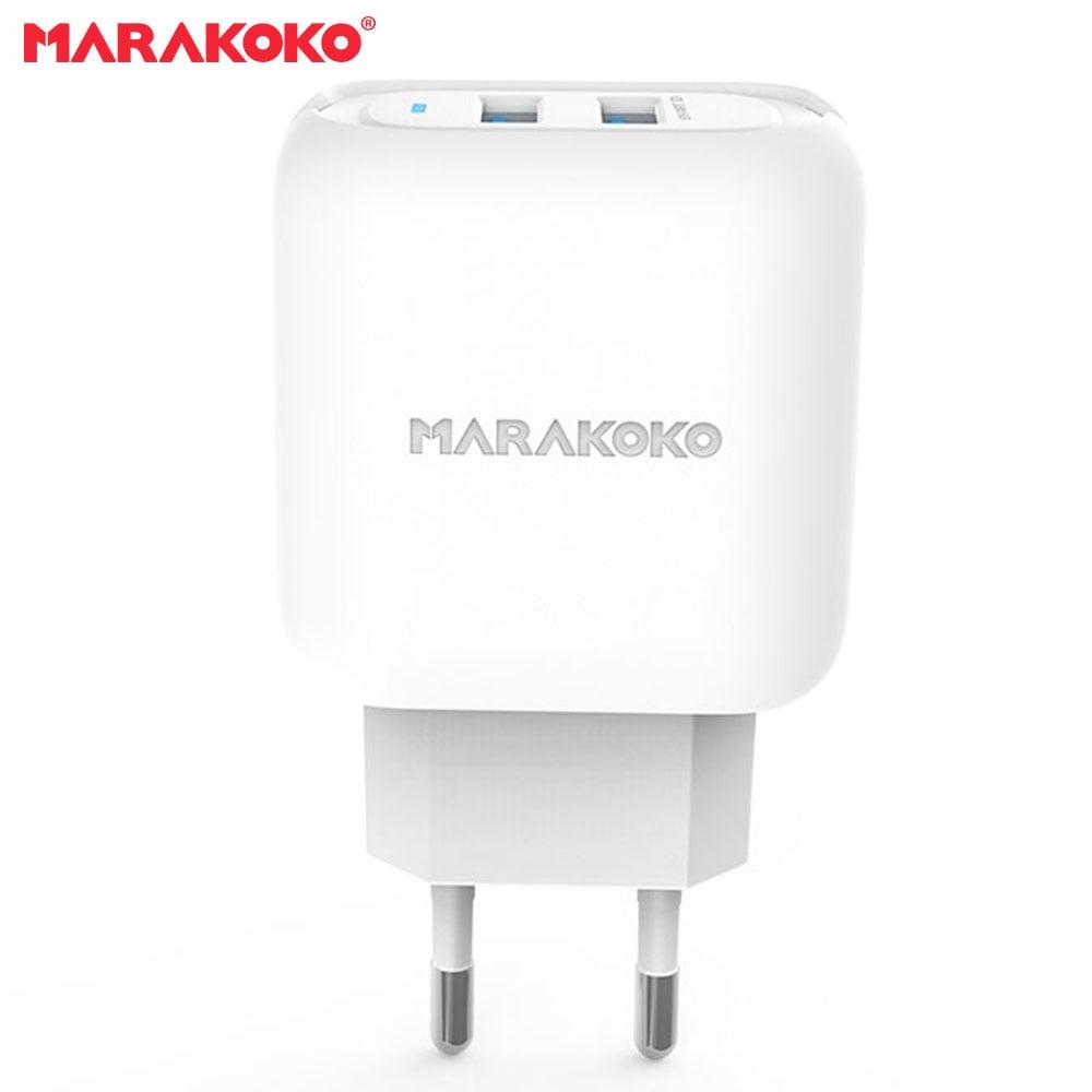 Củ sạc điện thoại Marakoko MA30, 2 cổng sạc ra USB Smart Charge