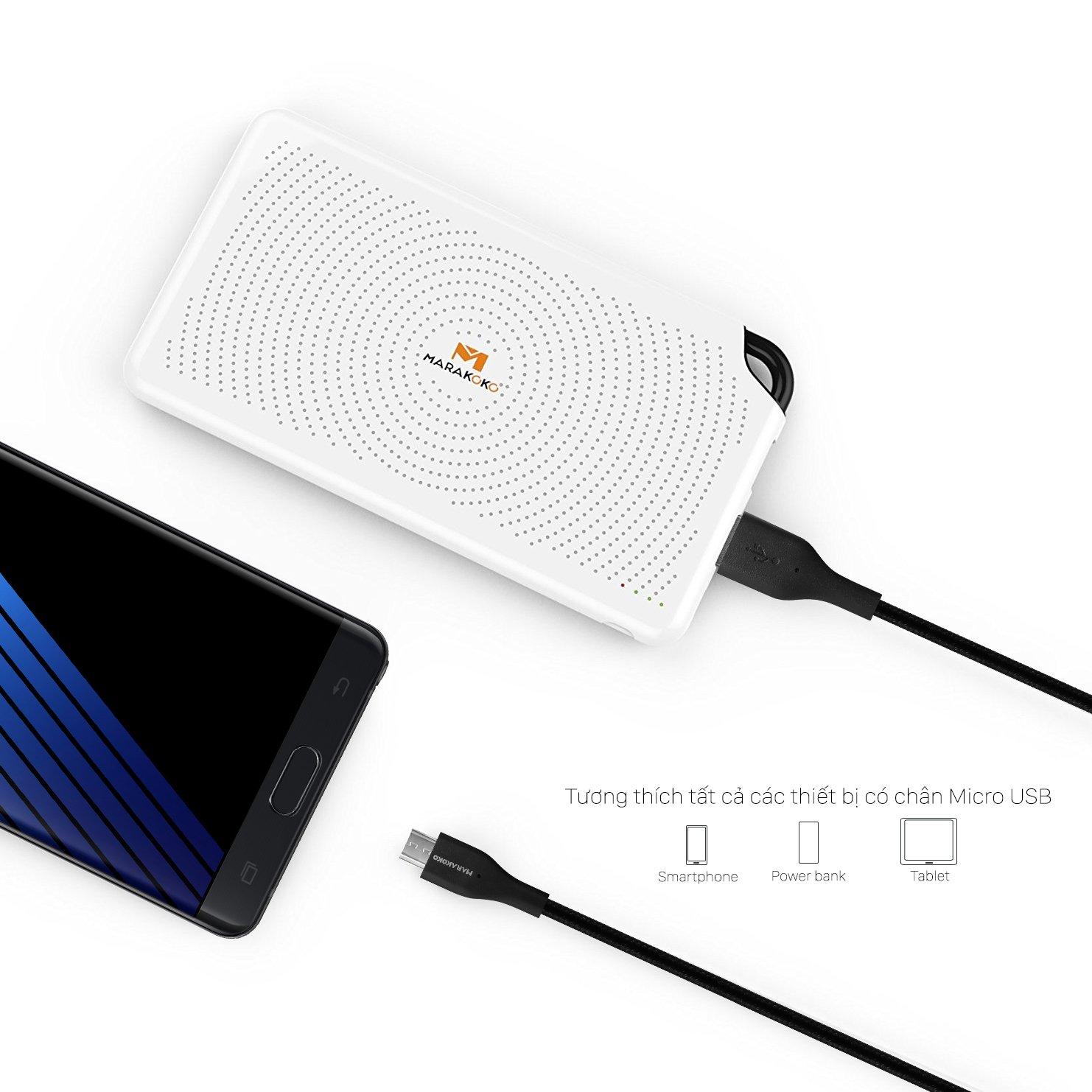 Cáp sạc điện thoại Marakoko MCB11 Micro USB, bọc dù, dài 1.5m
