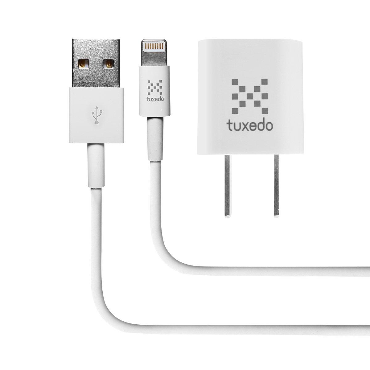 Bộ cáp sạc điện thoại Tuxedo C100 Lightning USB, gồm 1 củ sạc Tuxedo 1A và 1 cáp Tuxedo Lightning USB dài 1m