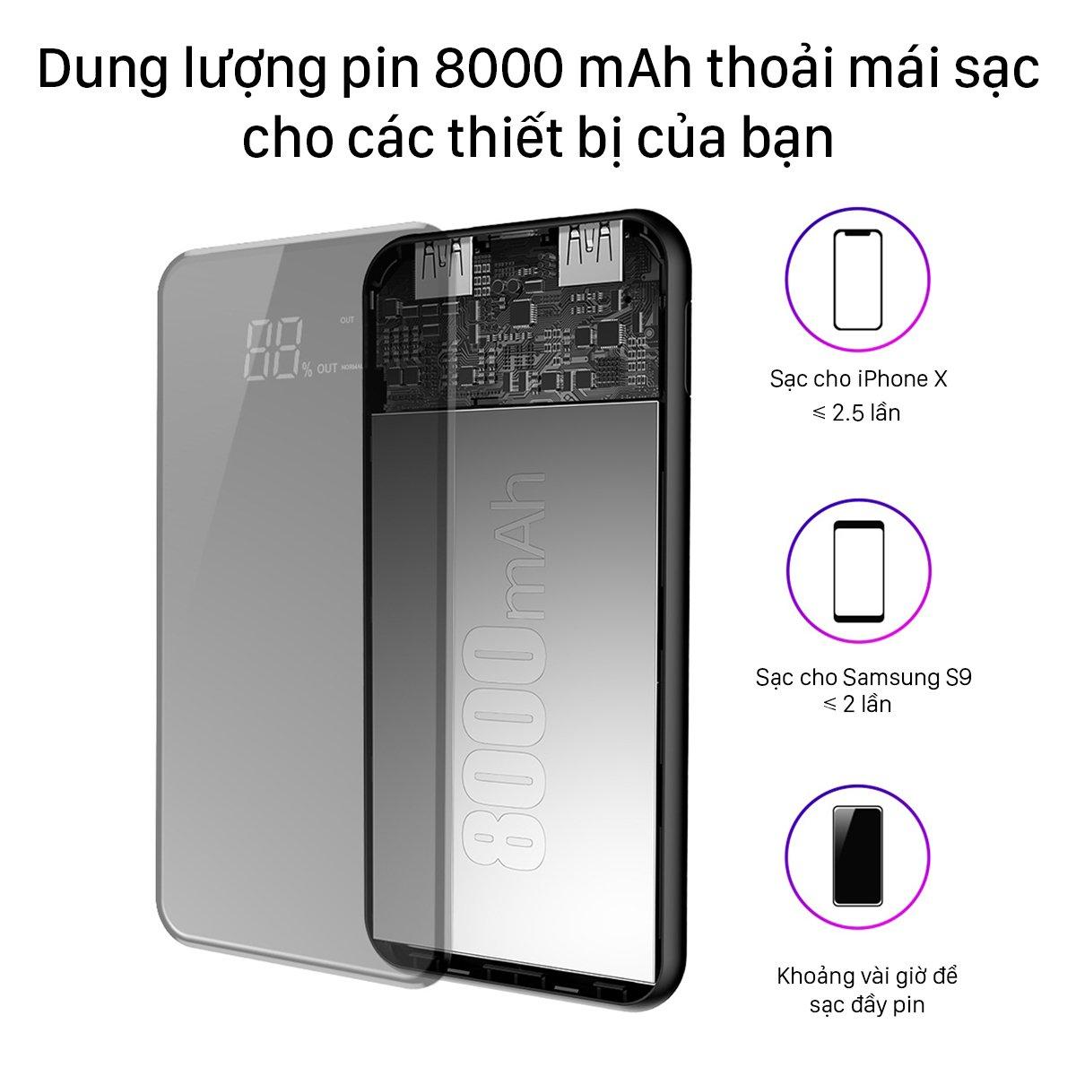Pin sạc dự phòng không dây Baseus Q2, dung lượng 8000mAh, 2 cổng ra USB
