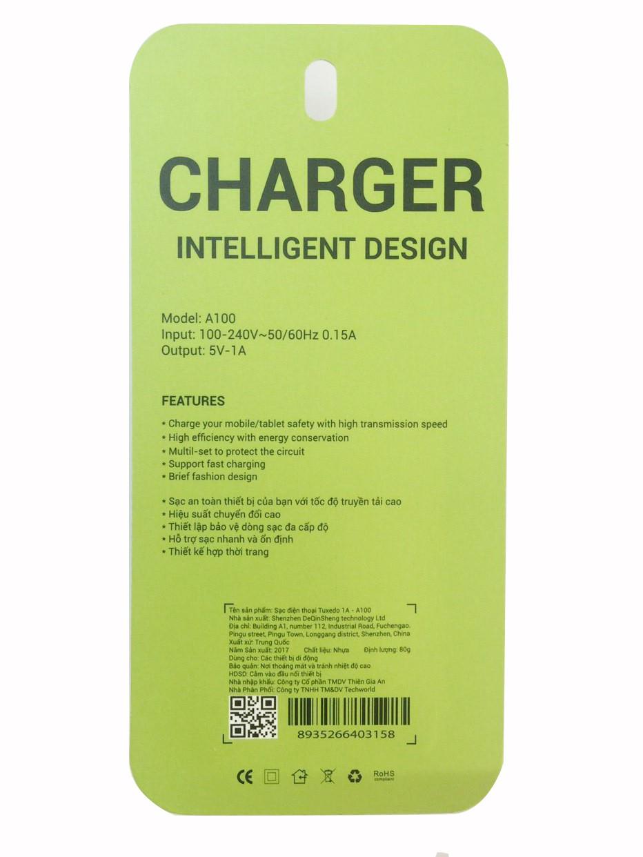 Sạc điện thoại Tuxedo A100, 1 cổng USB 5V/1A (Max)