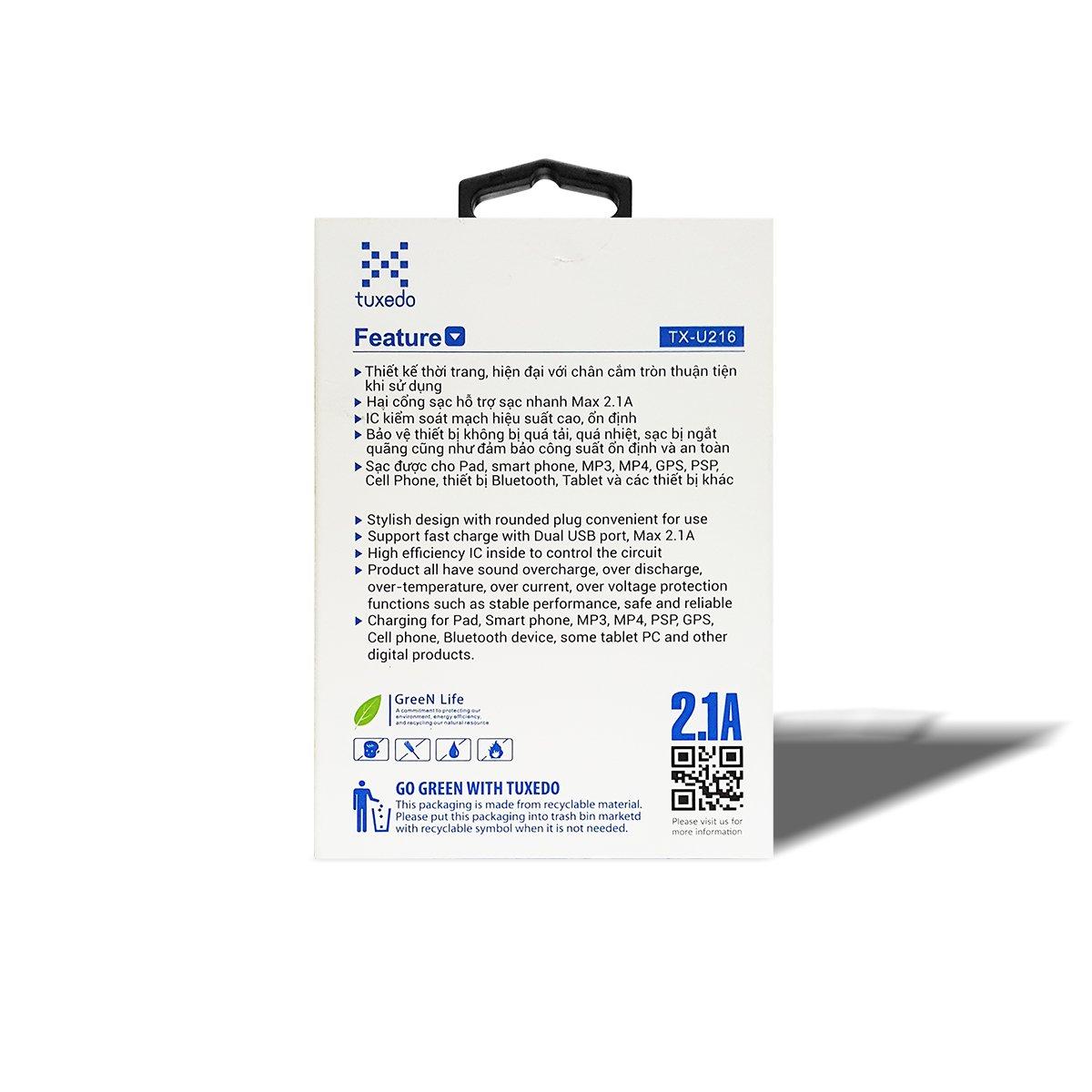Sạc điện thoại Tuxedo TX-U216, 2 cổng USB 5V/2.1A (Max)