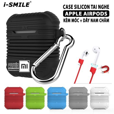 Case Silicon cho tai nghe Apple Airpods i-Smile Chống sốc cao kèm dây silicon nam châm + Móc