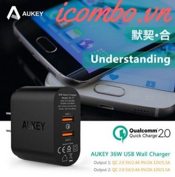 Sạc 2 cổng Quick Charge 2.0 Aukey PA-T7