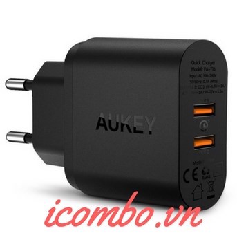 Sạc 2 cổng Quick Charge 3.0 Aukey PA-T16