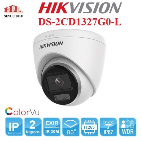 Camera IP Dome COLORVU Lite 2.0 Megapixel HIKVISION DS-2CD1327G0-L