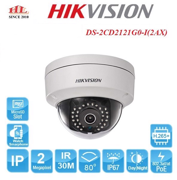 CAMERA IP DOME 2MP HIKVISION DS-2CD2121G0-I(2AX)