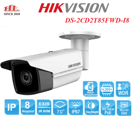 CAMERA IP 8MP HIKVISION DS-2CD2T85FWD-I8