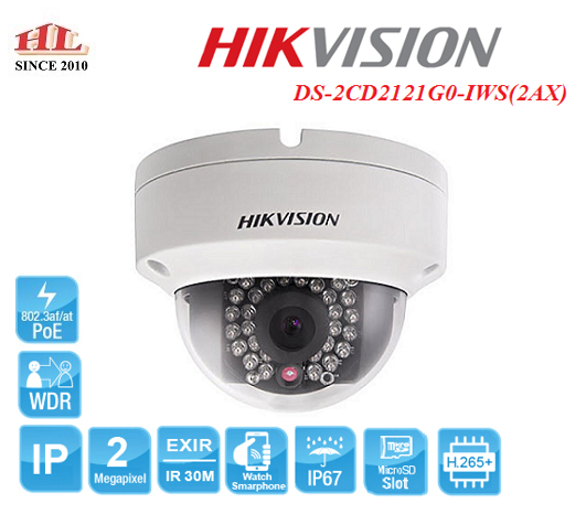 CAMERA IP DOME 2MP HIKVISION DS-2CD2121G0-IWS(2AX)
