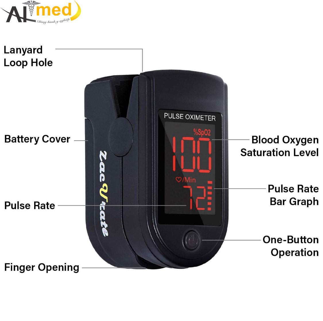 Zacurate Pro Series 500DL Fingertip Pulse Oximeter Blood Oxygen