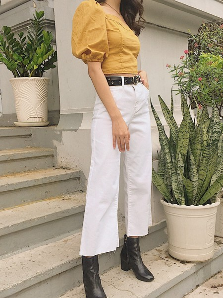DOC33 Culottes jeans 90s - trắng
