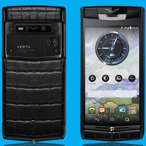 Vertu Signature Touch Pure Jet Alligator Diamonds