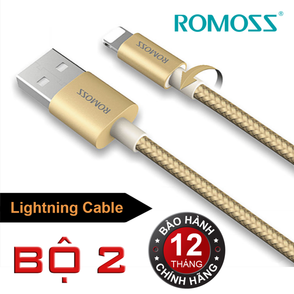 Bộ 2 cáp sạc iPhone/iPad Romoss Lightning Cable (Gold)