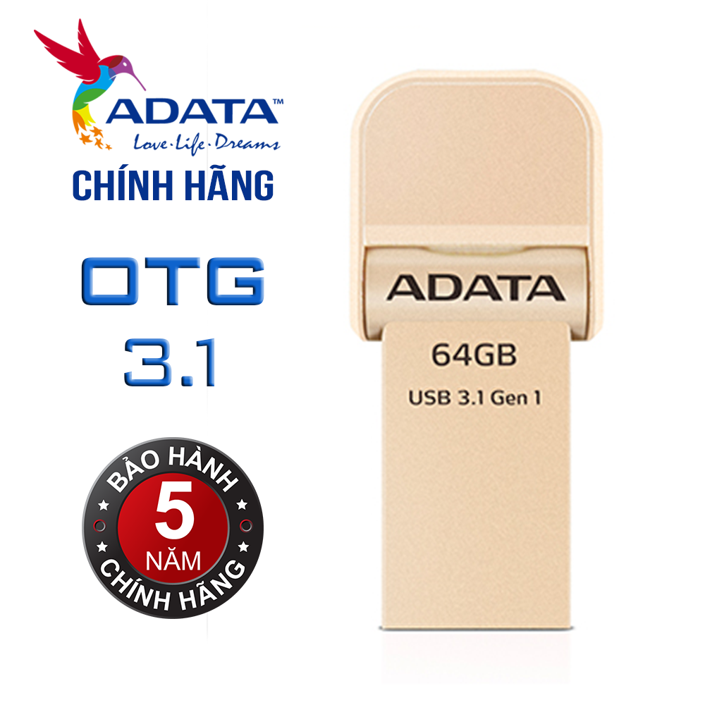 USB OTG 3.1 64Gb cho iPhone/iPad Adata iMemory AI920