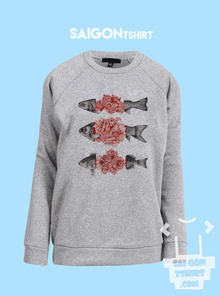 Áo ấm sweater Ba con cá - Hoa và cá - To bloom not bleed limited time only - sweater-198