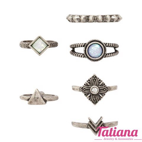 Set 6 Nhẫn Midi Ring Boho Arrow- TATIANA - NH2379 (Đồng)