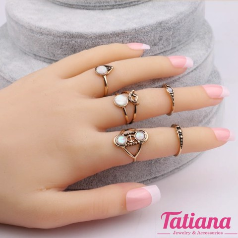 Set 6 Nhẫn Midi Ring Boho Arrow  - TATIANA -BH2379 (Đồng)